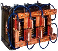 Transformer with two secondary windings for high current 12 pulse rectifiers