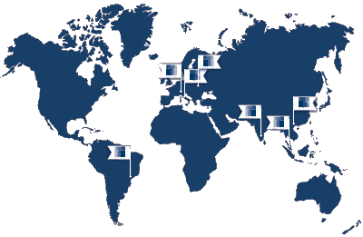 World map of Trafomec offices and production facilities